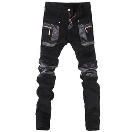 Mens Tight Leather Trousers UK - Wholesale- Korean style cool fashion Mens punk pants with leather zippers Black color Tight skenny Plus size 33 34 36 Rock trousers