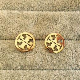 Fashion studs earrings online shopping - 2018 High Quality Famous Brand colors T stamp Jewelry Fashion Stainless Steel Style Luxury Gold Plated Earrings Stud For Men Women
