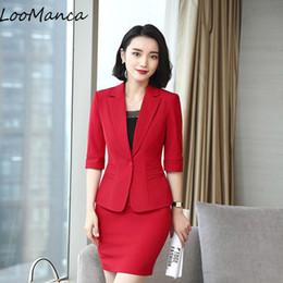 7abf63c44f Mulheres profissionais saia terno primavera verão blazer elástico e saia  define escritório senhoras plus size uniformes
