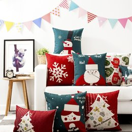 Wholesale Christmas Home Decorative Pillow Case Vintage Linen Pillow Santa X Max Angel Gloves Cushion Cover Cm Cm