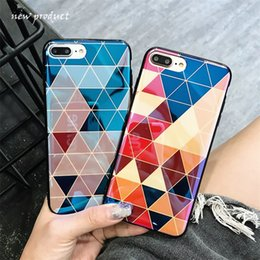 cameras effects NZ - Blue light effect Rhombus pattern Soft TPU Glossy Phone Case For iphone X 8 7 6 6s Plus Camera pattern Belt bracket Factory wholesale