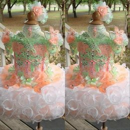 Wholesale puffed skirt for sale – plus size Sparkly Cupcake Girls Pageant Dresses Princess Flower Girls Ball gowns Straps Puff skirt Girls dresses for Party