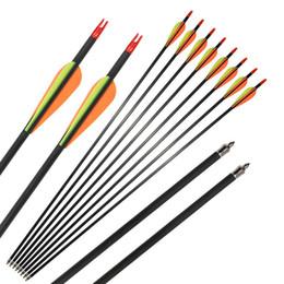Großhandel Bogenschießen 31 '' Kohlefaser Welle Pfeile Spine 400 für Compound Recurve Bogen mit Field Points Jagd Schießen im Freien