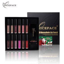 $enCountryForm.capitalKeyWord NZ - 1 Box of 12Pcs Charming Lip Gloss Matte Liquid Lipstick + 12Pcs Nude Lip Liner Pencil Set Waterproof Long-lasting Christmas Gift