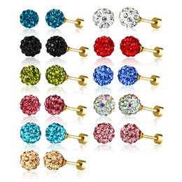$enCountryForm.capitalKeyWord NZ - Fashion Bling Crystal Ball Stud Earrings Women and Girls Party Jewelry 11Pairs Set 8MM Stainless Steel Ear Studs Multi- Color Available Brin