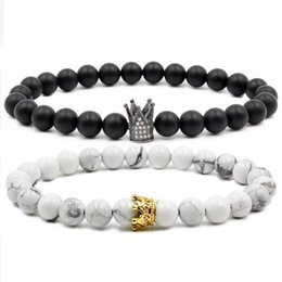 $enCountryForm.capitalKeyWord Canada - Valentine's Day For His And Her Bracelets Distance From Black And White Beads CZ Crown Prince Charming Stone Bracelet Lovers