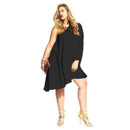 1c9584a4db Señora gorda moda tamaño grande más código color sólido hombro inclinado  fuera del hombro manga larga suelta fibra de leche una sola pieza sexy idea  vestido ...