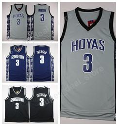 05b045243 Georgetown Hoyas College Jerseys Black Blue Gray Stitched Basketball 3  Allen Iverson Jersey Men Sale For Sport Fans Wholesales Lowest Price