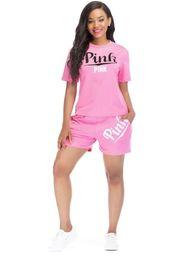 Женщины розовый письмо рубашка с шортами спортивный костюм набор против  любви Розовый наряды 2 шт. тела спортивный костюм спортивная одежда набор  беговой ... c55c7b693ca59