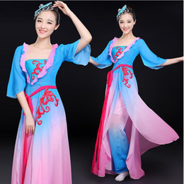 Wholesale carnival fun online – ideas New carnival fun outfit Classical Chinese Dance Costume Women Yangko Dancing dress fan Dance Clothing Chinese performance stage wear Clothes