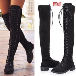 7c99f383e85 RYAMAG 2018 New Women s Fashion Womens Knee High Boots Flat Ankle Snow  Dance Lace Up Canvas Long Boots Zapatos De Mujer Botas