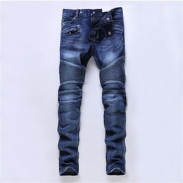 China New Designer Mens Jeans Skinny Pants Casual Luxury Jeans Men Fashion Distressed Ripped Slim Motorcycle Moto Biker Denim Hip Hop Pants supplier distressed cotton suppliers