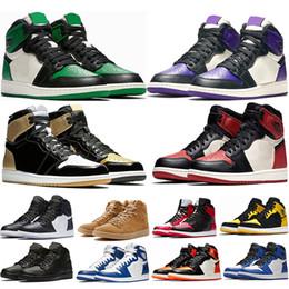 7583a4e41 Mens 1 s top Pine Green Tribunal Roxo Chicago OG 1 Jogo azul Real tênis de  basquete Escorrega sports sneaker designer formadores tamanho 5.5-13