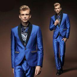 Royal Blue Yellow Suits Australia - New Royal Blue Prom Men Suits Style Suits Slim Fit 2 Piece Groom Tuxedos Custom Groom Wear Men Blazer (Jacket+Pants)