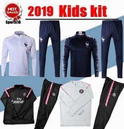 Chinese  2019 Kids Tracksuits 2 Stars frances sports outfits GRIEZMANN MBAPPE POGBA psg Tracksuits Maillot de foot youth child Football Training suit manufacturers