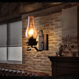Rustic wall light fixtuRes online shopping - Retro Rustic Nordic Glass Wall Lamp Bedroom Bedside Wall Sconce Vintage Industrial Wall Light Fixtures Bedroom Aisle Staircase Lamps