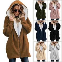 Full Zip Jacket Polyester Australia - Full Zip Sherpa Jacket for Women Winter Long Fleece Coat Casual Warm Outwear Hoodies Hooded Coats Plus Size Clothing S-5XL Fur Wool Coats