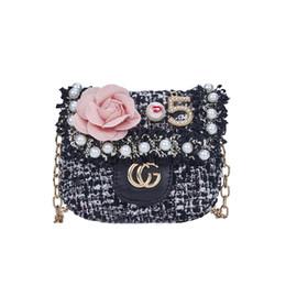 7b7827fdc058 Fashion Kids Handbags MINI Girls Flower Pearls Metal Chain Messenger Bags  Coin Purse Wallet Children Princess Party Bags C52