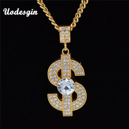$enCountryForm.capitalKeyWord Canada - Uodesign Golden Bling Big Dollar $ Sign necklaces Hip Hop Jewelry Gifts Chains Men Women Charm Crystal Money pendants For Men