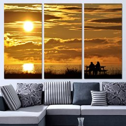 couple painting art UK - 3 Panels Canvas Art Sunset Evening Couple Home Decor Wall Art Painting Canvas Prints Pictures for Living Room Poster