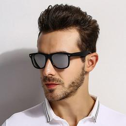 sun vision 2019 - [EL Malus]Polarized Square Frame Sunglasses Men Male Night Vision Gray Silver Blue Lens Mirror Retro Brand Designer Sun