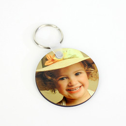 Logo Promotional Gift NZ - Wholesale 1000pcs Circle MDF Blank Key Chain Sublimation Wooden Key Ring For Heat Press Transfer Photo Logo Promotional gift-free ship