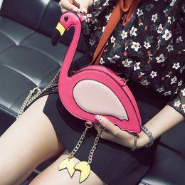 Flamingo handbags online shopping - Adiyate Flamingo Chains Shoulder Bags Cheap Women O Bags Pink Bird Bolsas Feminina Sac De Plage Flamingo Cheap Leather Handbag