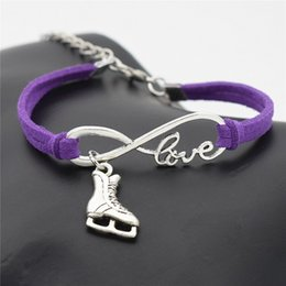 shoes for men leather classic NZ - Punk Infinity Love Ice Figure Skating Boot Shoe Bracelets Classic Purple Leather Suede Rope Charm Bangles For Women Men Armband Jewelry Gift