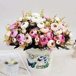 flower camellia UK - 5 fork princess happy camellia fake flower silk flower mixed batch of home decoration display simulation decorative flowers
