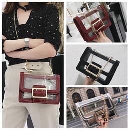 plain handbags wholesale 2019 - 3styles Women Jelly Transparent Chain Bags Cover Hasp Flap purse handbag comestic bags Plain Cross body Bags FFA656 chea