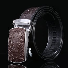 Men forMal suits belts online shopping - Designer Belt Loong Pattern Print Alloy Automatic Buckle Mans Suit Trouser Formal Occasion Work Brand Belts sr hh