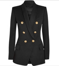 Новый с лейблом бренда B высокое качество оригинальный дизайн женская двубортный тонкий куртка металлические пряжки блейзер ретро Шаль воротник пиджаки
