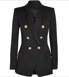 Vente en gros Prime New Style Qualité originale conception double boutonnage Femmes Slim Veste Blazer Buckles métal rétro col châle Outwear 3 couleurs