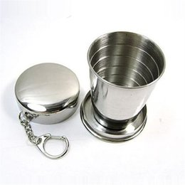 $enCountryForm.capitalKeyWord NZ - Outdoor Camping Travel Telescopic Stainless Steel Cup Foldable Coffee Tea Cups With Key Ring 75ML