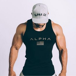 Chinese  2018 New Design Mens Sport Shirts Summer Gyms Fitness Bodybuilding Tops Tees Fashion Loose Breathable Sleeveless Shirts manufacturers