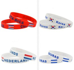 Discount sports world - 2018 Russia World Cup sports bracelets Many Russia France national flags silicone Wristband For Football soccer Fans Sou