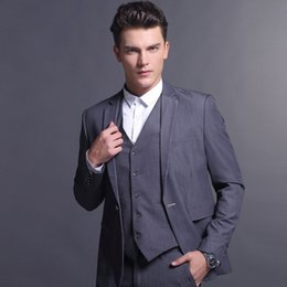 groomsman grey three piece suits NZ - 3 Pieces Grey Men Suit Handsome Wedding Suits for Men Slim Fit Groom Tuxedos Blazers Jacket Pants Vest One Button Groomsmen Terno Masculino
