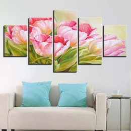 Flower Canvas Prints NZ - Painting Wall Artwork Abstract Decor Fashion 5 Panel Pink Flower Framework Prints Canvas Modular Pictures For Living Room Bedroom