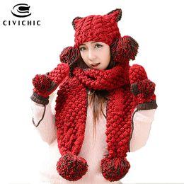 $enCountryForm.capitalKeyWord NZ - CIVICHIC Girl Warm Set Cute Cat Ear Headwear Knit Hat Glove Scarf 3 Pcs Pompon Beanies Crochet Shawl Thicken Velvet Mitten SH191