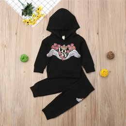 Discount angel baby clothing - 2PCS Baby Rose Love Outfits Girls Outfits T-shirt Hoodies+Pants Angel Wings Set Toddler Autumn Clothes 3-12M 1-4Y