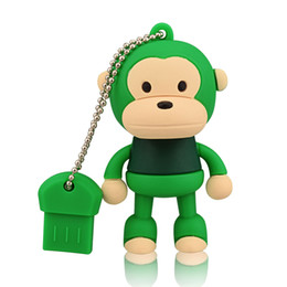 Usb Flash Design NZ - Green Cartoon Monkey Design 8GB 16GB 32GB 64GB USB Flash Drives Thumb Pen Drives USB 2.0 Memory Stick for Computer Laptop Tablet Pen Storage