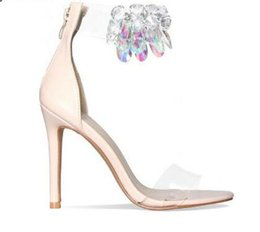 Ankle Strap Clear UK - Rose Gold Nude Leather High Heels Sandals Transparent PVC Ankle Strap Women Pumps Clear Crystal Thin Heels Women Shoes