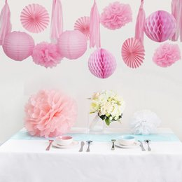 birthday party decoration sets Australia - 1 set 15 Pieces Pink Paper Lanterns Fans Honeycomb Ball Tassel and Paper Flowers For Baby Shower Kids Birthday Party Decoration