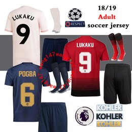 b3508a550 18 19 Adult kits + sock soccer Manchester United jersey Alexis Sanchez  LUKAKU POGBA jerseys 2018 2019 football shirt de champion futbol
