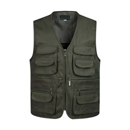 Wholesale blue military jacket mens for sale – custom Man Vests Sleeveless Unloading Fashion Waistcoat With Many Male Coat Pockets Military Jacket Mens Tactical Vest Sweatshirts