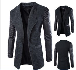 mens wool long coat green UK - Mens slim fit lapel coat business casual jacket long pu sleeve wool blend