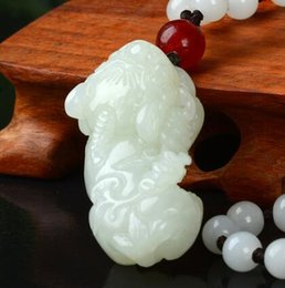 Carved Jade Red Pendants Australia - Hetian jade pendant natural pure hand-carved and Tianyu men and women pendant