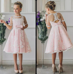 2a9115437b1 Fancy Pink Flower Girl Dress with Appliques Half Sleeves Knee Length A-Line  Gown with Ribbon Bows For Christmas Pageant Gowns 0-12 Years Old