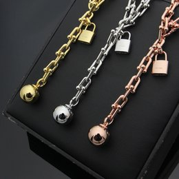 lock link chain Canada - T letter U-shaped chain necklace lock steel ball necklace 18K rose gold foreign trade ladies necklace