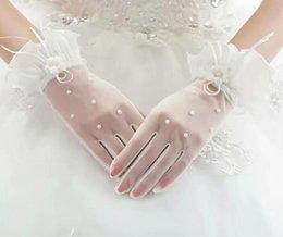 Venta al por mayor de 2017 nueva moda de alta calidad de encaje blanco guante para la boda 5 dedos guante suministros nupciales guantes de color beige